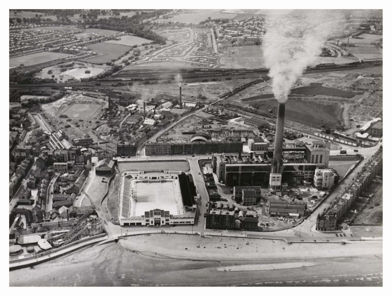 Aerial view of Portobello bathing pool and power station