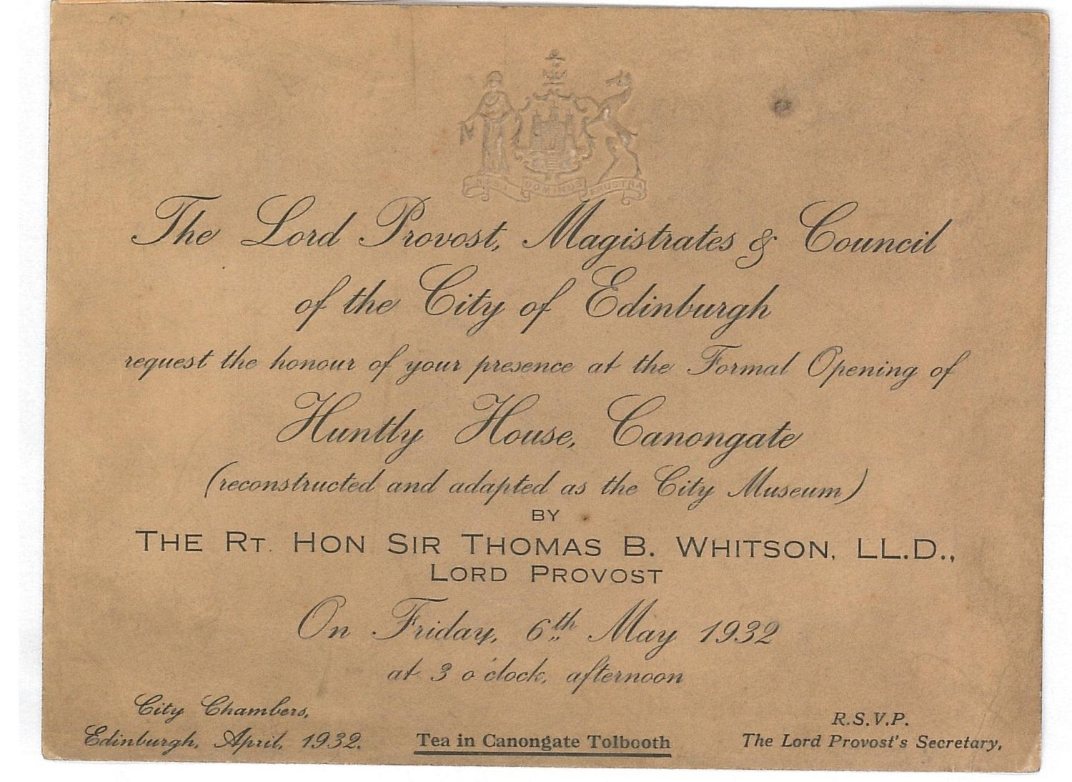 An invitation to the official opening of the Corporation Museum in Huntly House, 6th May 1932 © The City of Edinburgh Council Museums & Galleries