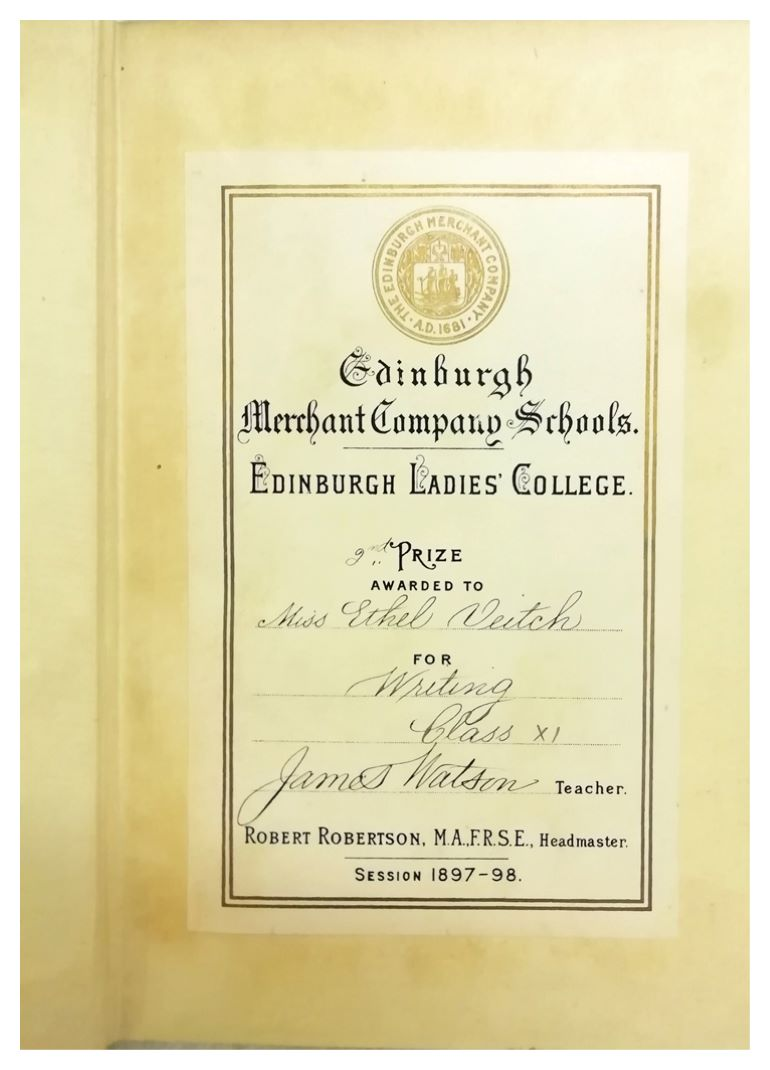Bookplate certificate awarded to Ethel Veitch, 1897