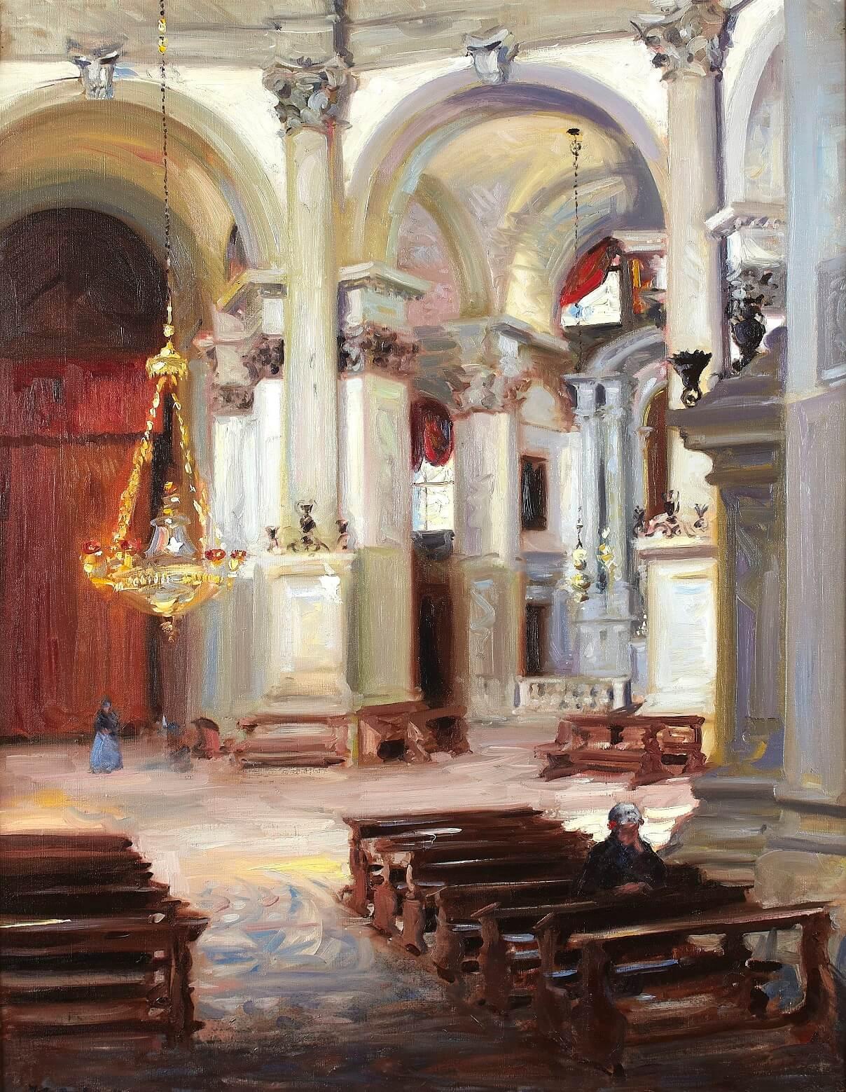 F.C.B. Cadell, Interior – Santa Maria della Salute, Venice, 1911. On loan from a private collection.