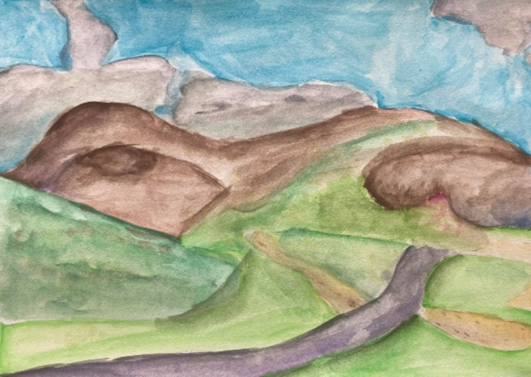 Abstract painting showing blue skies, green rolling hills, mountains and a road running through the valley