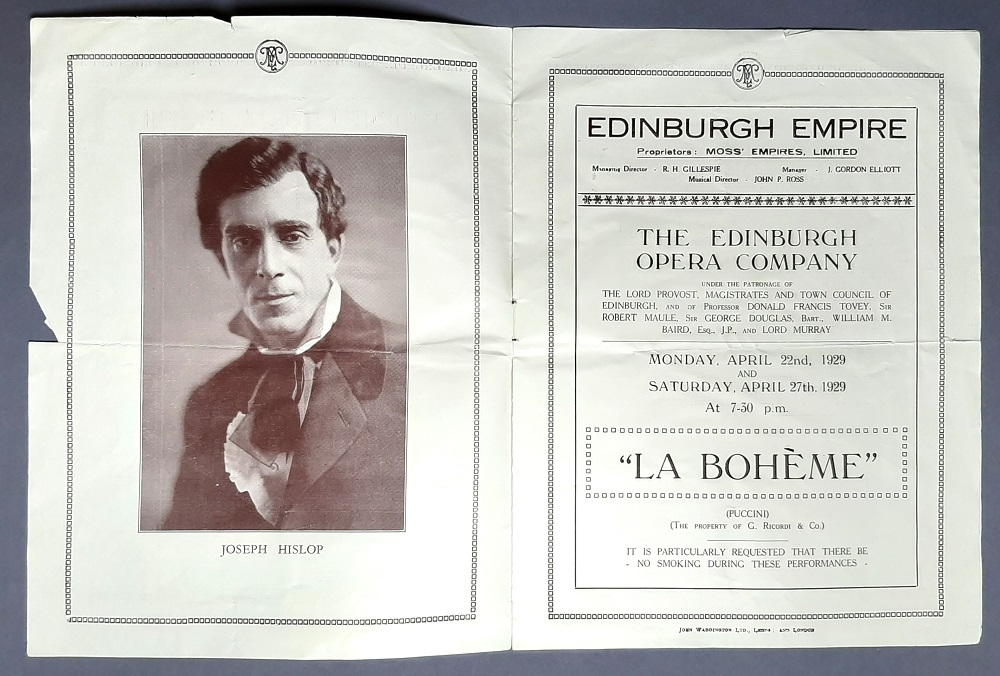 A theatre bill from the Museums & Galleries Edinburgh Collection of Hislop in 'La Boheme' at the Edinburgh Empire. © City of Edinburgh Council Museums & Galleries; Museum of Edinburgh