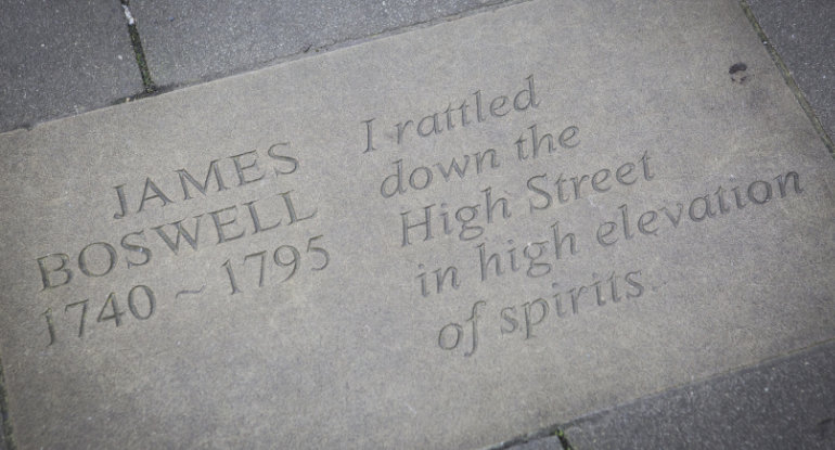 Stone at the Makars Courts, just outside Writers' Museum Edinburgh