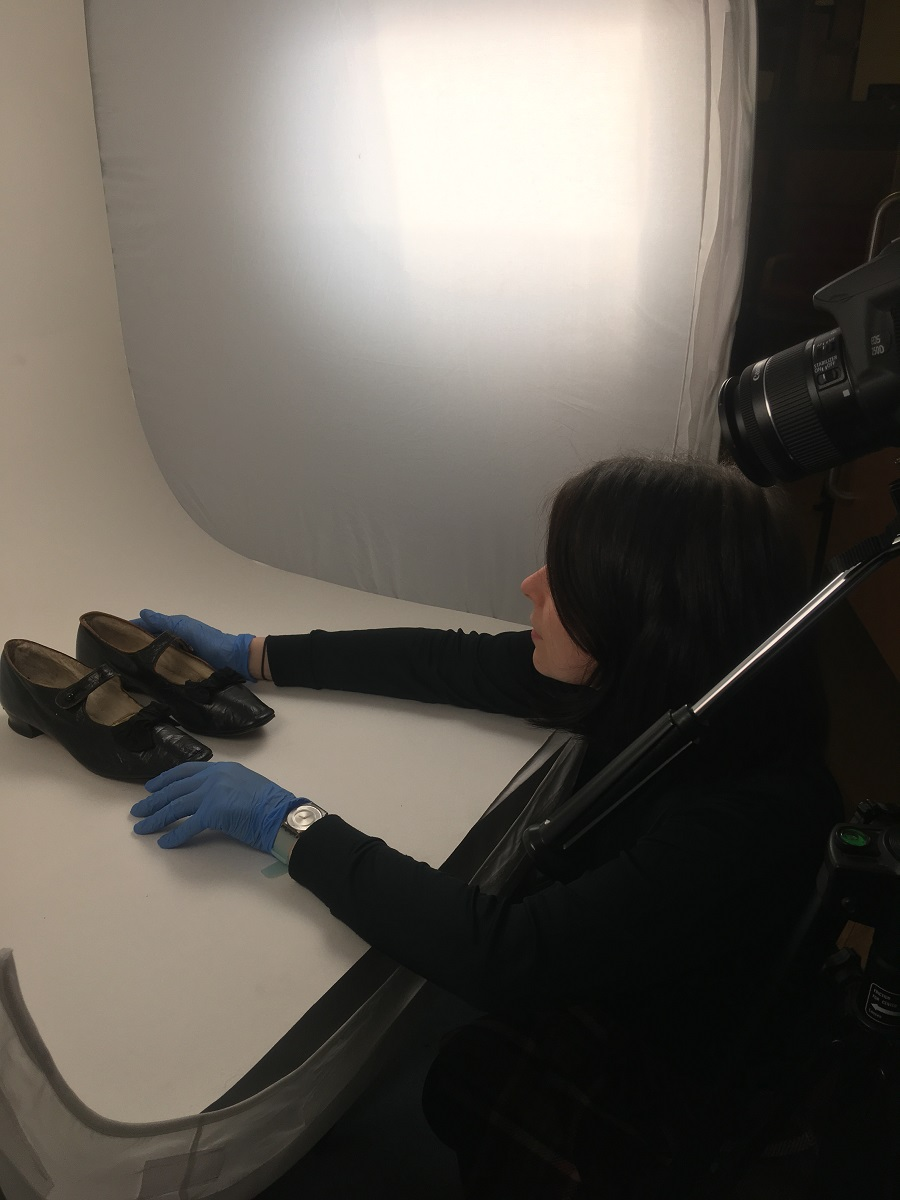 Shoes being prepared for photography at the Museum Collections Centre © City of Edinburgh Council Museums & Galleries; Museum Collections Centre