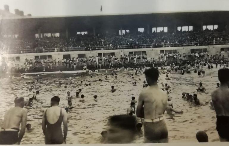 Swimmers at Portobello outdoor pool enjoy the wave machine