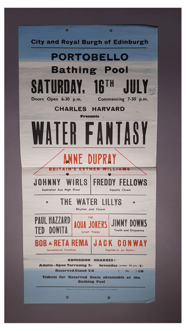 Poster for a 'Water Fantasy' event at Portobello bathing pool