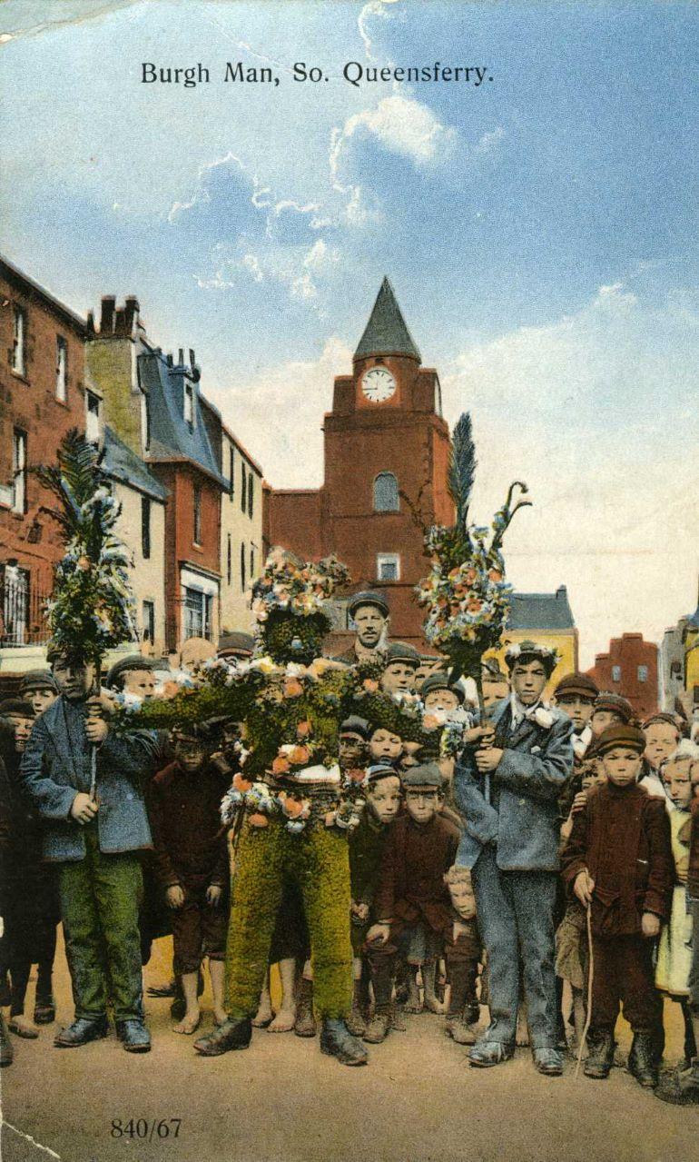 Postcard of the Burryman, misnamed as the 'Burgh Man'
