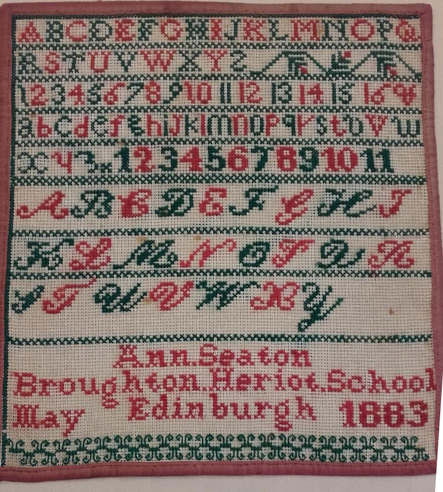 Sampler made by Ann Seaton at Broughton Heriot School, 1883 © City of Edinburgh Council Museums & Galleries: Museum of Childhood