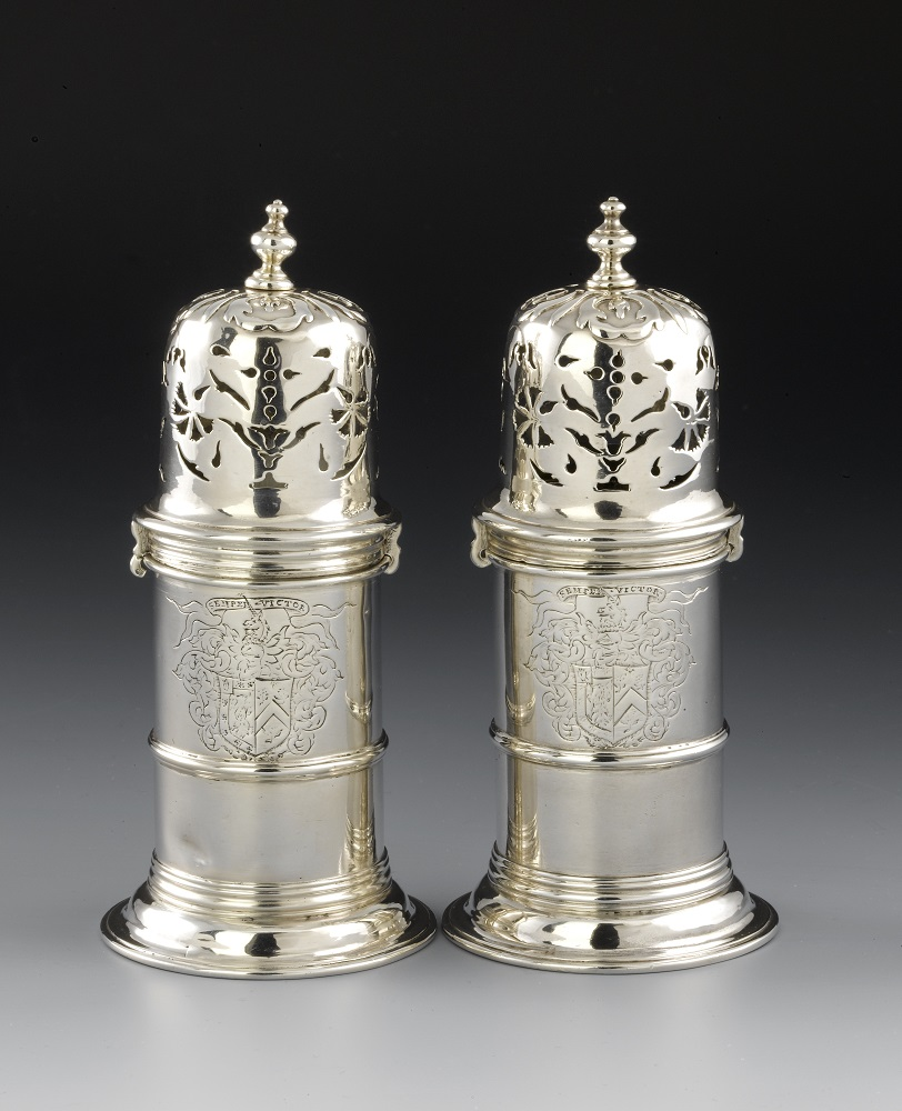 Pair of silver Sugar Casters (image NMS)