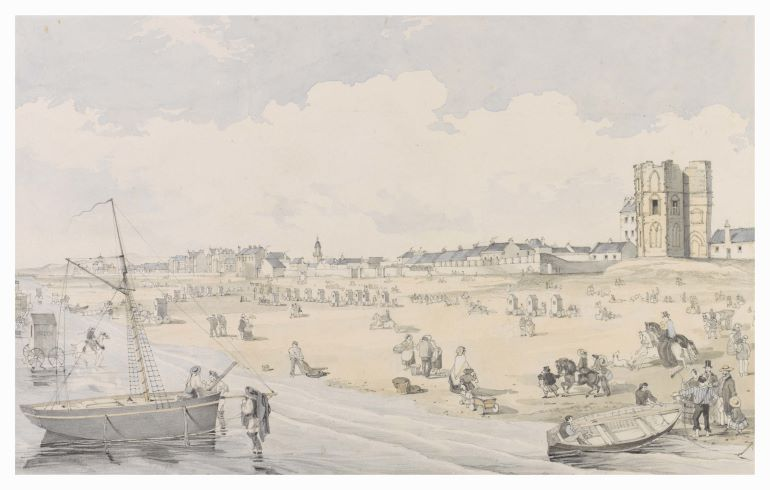 Painted view of the shore at Portobello with boats, 19th century