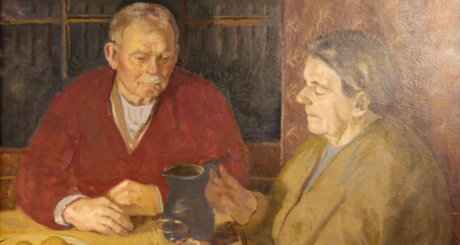 Painting by Donald Smith of his parents sitting side by side