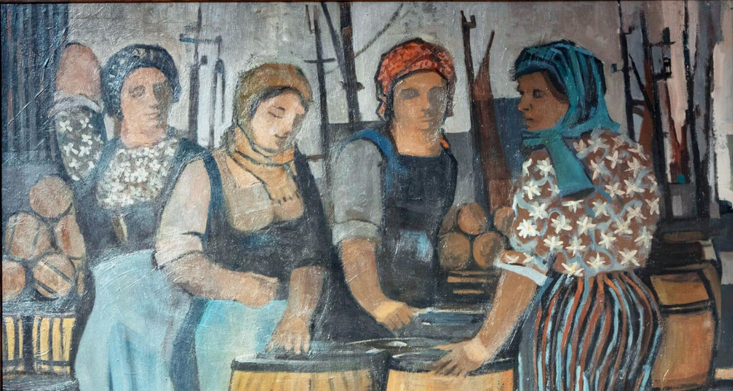 Painting by Donald Smith of 4 fishergirls grouped round large barrels