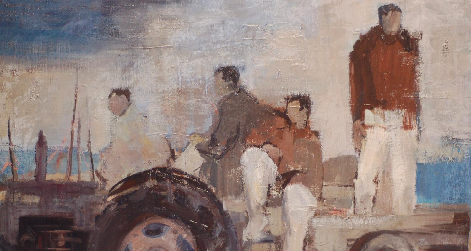 Painting of 4 netsmen on a tractor. The men are wearing white trousers and brown jumpers - the sea is in the background.