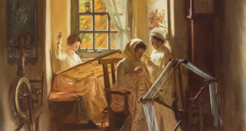 Ladies sewing in a room in Kellie Castle