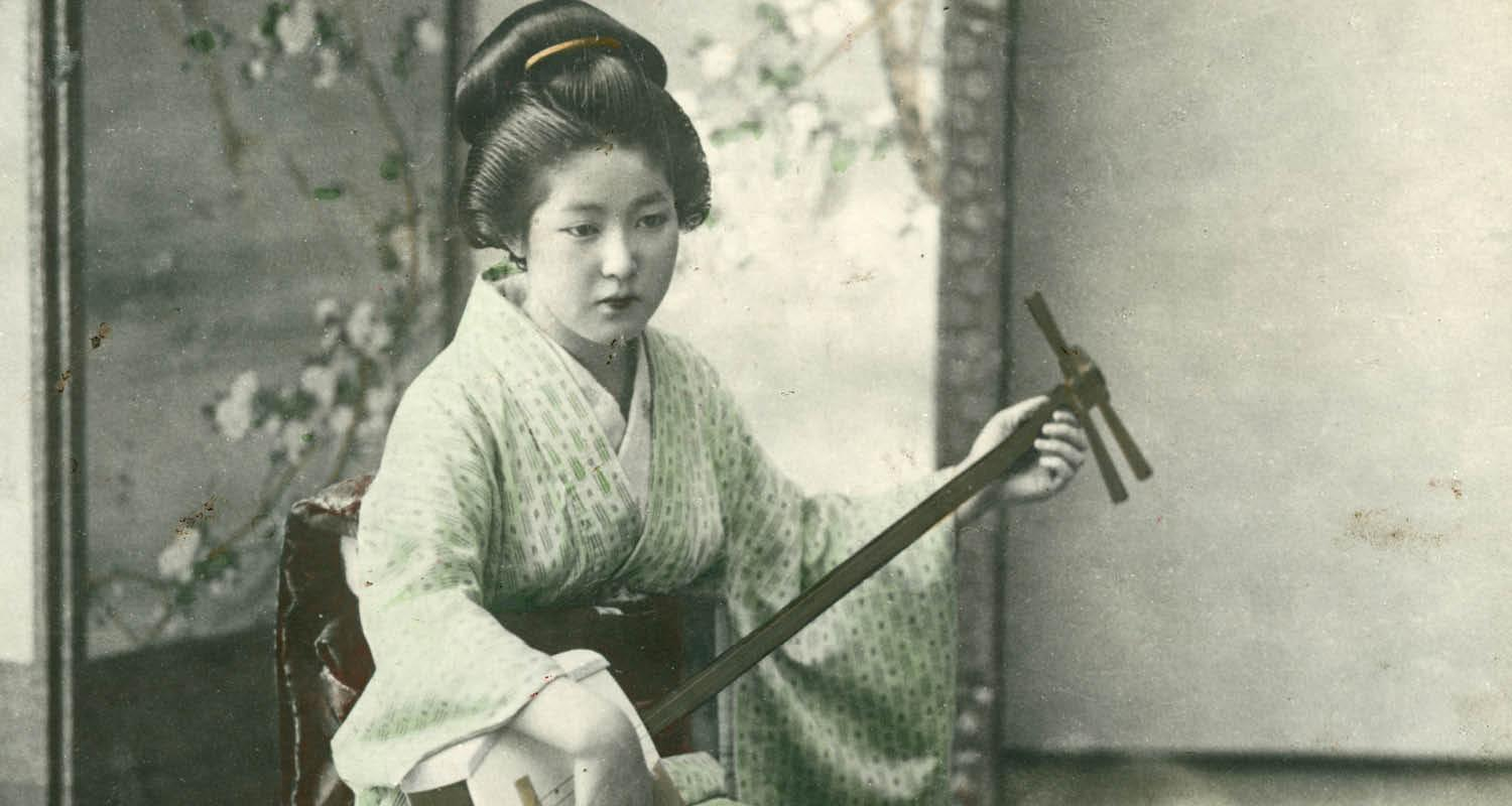Japanese woman playing a shamisen unknown photographer Yokohama shashin print 1890-1920 National Trust for Scotland Broughton House