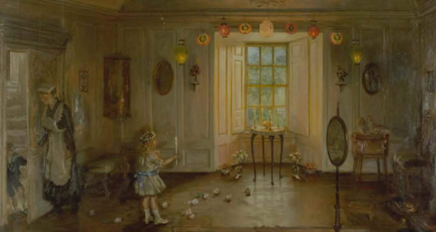 A maid and a child in a beautiful Edwardian room festooned by lit lanterns.  Light is streaming through the window.