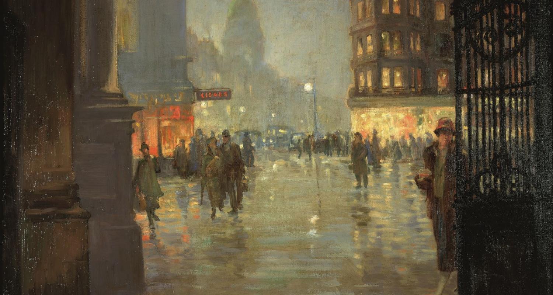 Robert Easton Stuart, Maule's Corner after Rain, Edinburgh, 1925. City Art Centre, Museums & Galleries Edinburgh.