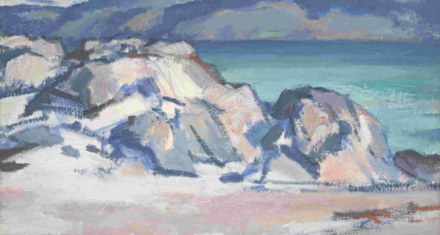 •	S. J. Peploe, Iona, Mull and Ben More in the Distance, c.1929. (On long-term loan from a private collection. Photo: Antonia Reeve)