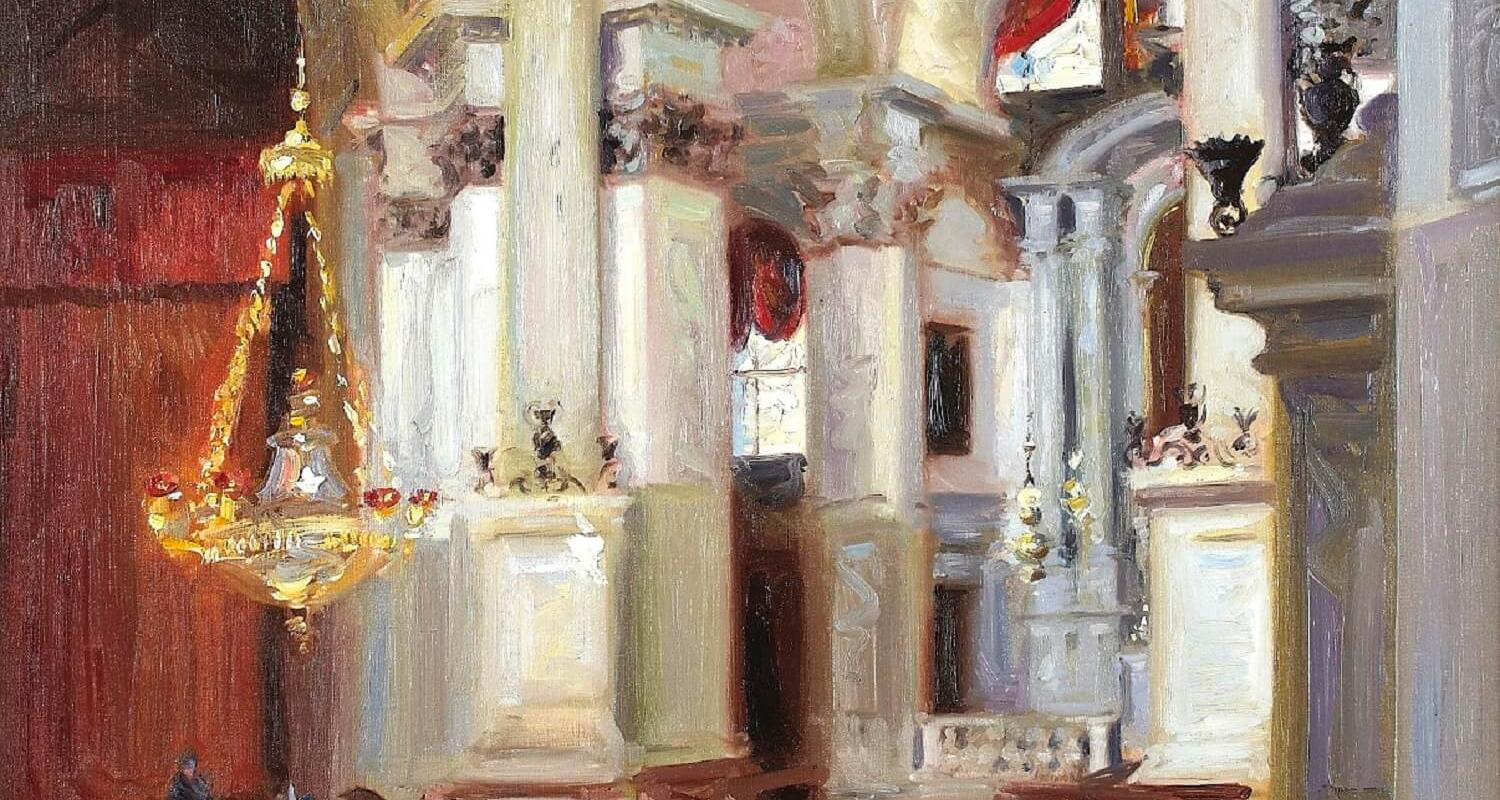 -	F.C.B. Cadell, Interior – Santa Maria della Salute, Venice, 1911. On loan from a private collection.