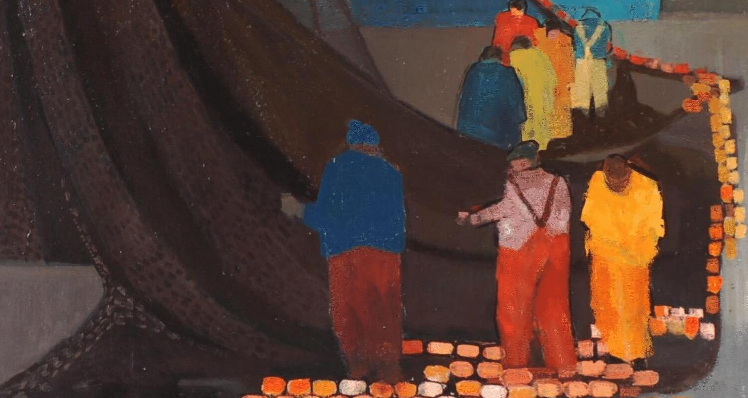 A Net of Textures. A group of fishermen tending to a colourful net in oranges and reds