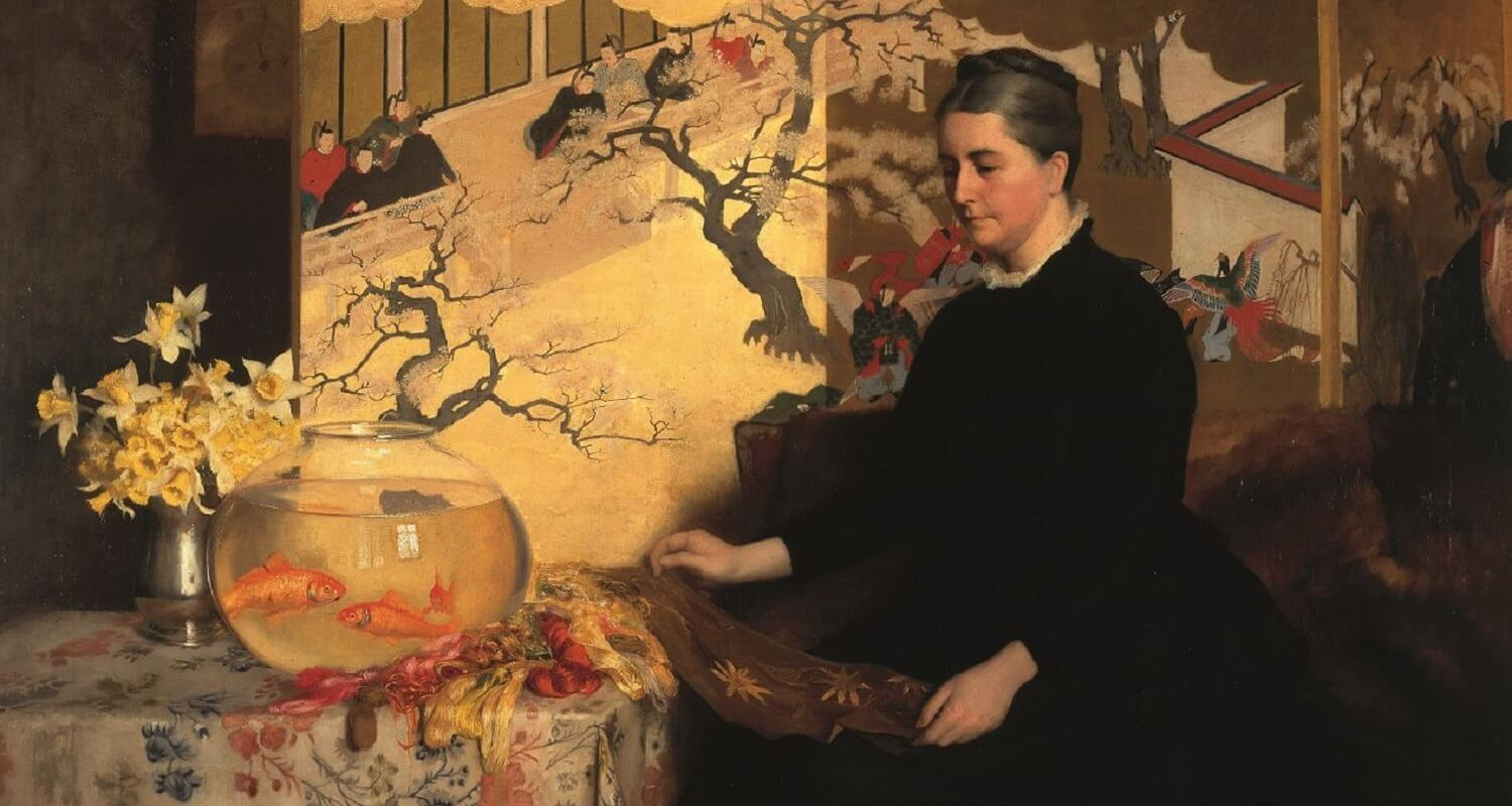 James Cadenhead, Lady with Japanese Screen and Goldfish (Portrait of the Artist's Mother), 1886
