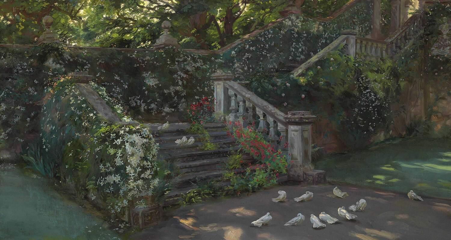 Staircase covered in white clematis with white doves