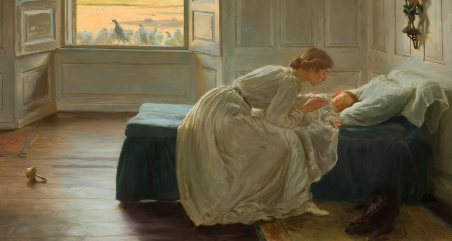 An Edwardian Interior where a mother is soothing her baby to sleep in a beautiful room with doves at the window