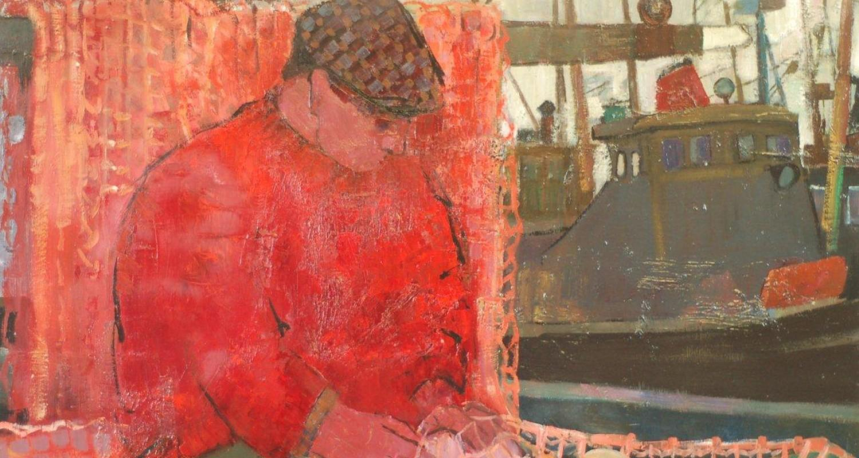 Detail of Iasgar Mor, Donald Smith, oil on board