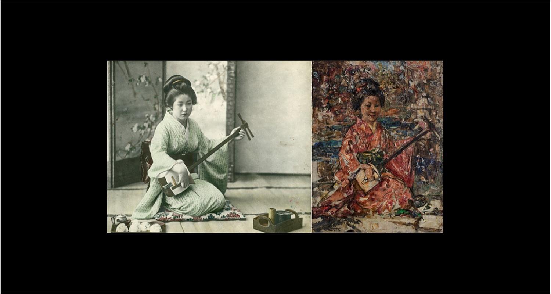 Japanese woman playing a shamisen