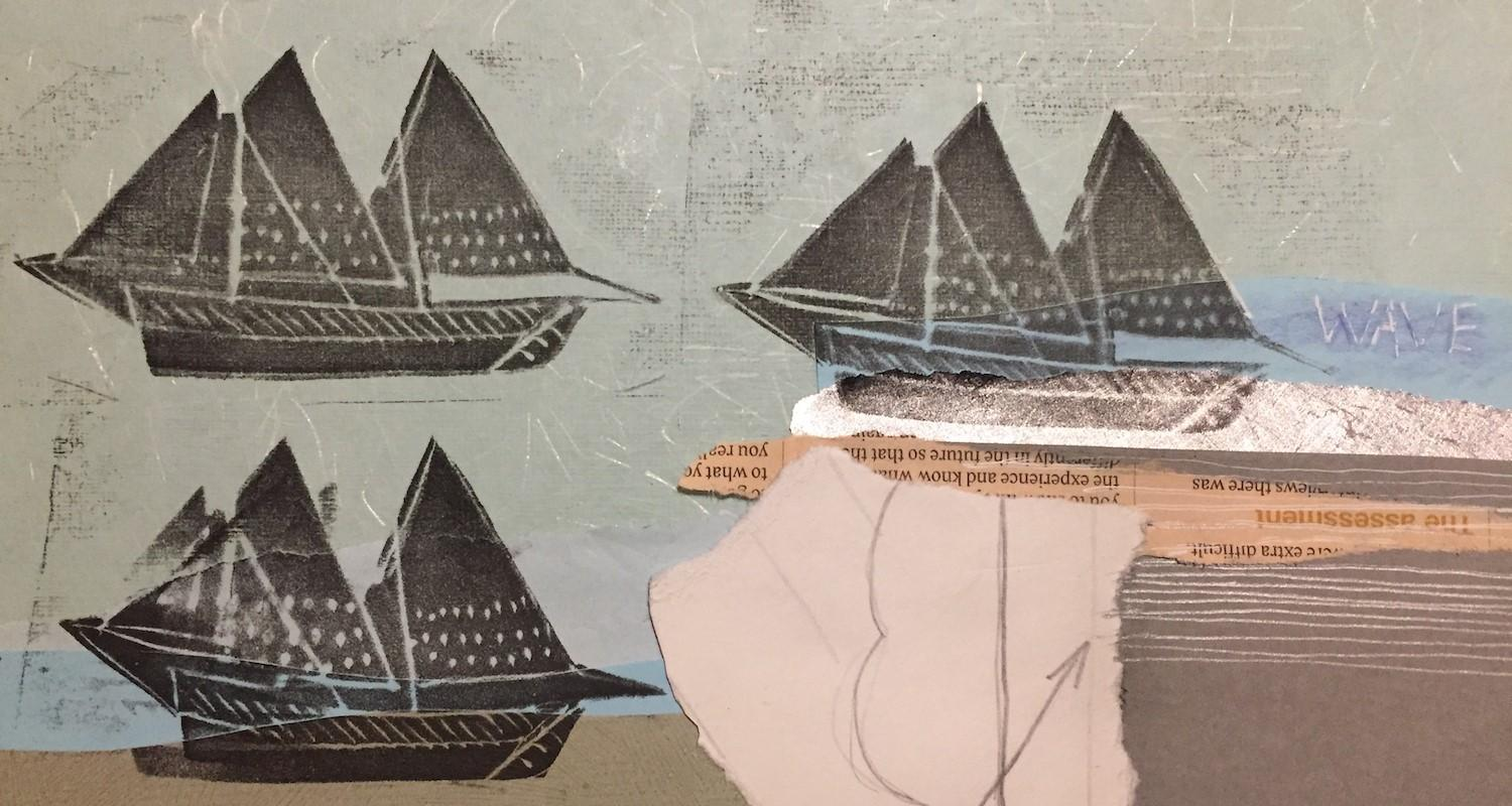 Adult creative workshops at the City Art Centre. Messages and Ships.