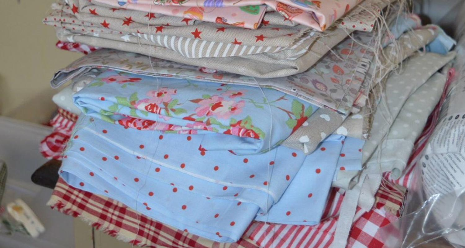 Patchwork appliqued cushions
