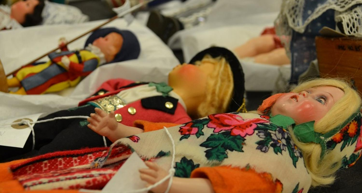 Dolls in national costume from the Museum of Childhood collection, stored at the Museum Collections Centre © City of Edinburgh Council Museums & Galleries; Museum Collections Centre