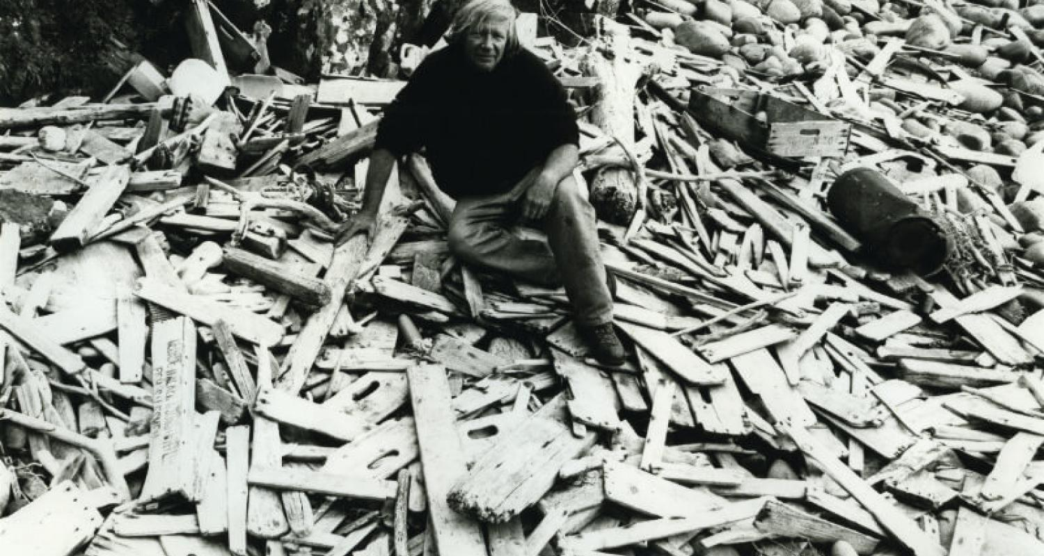 Robert Callender on the foreshore at The Lighthouse Stores, Stoer Point, Sutherland, 1970s. Courtesy of the Estate of Robert Callender. Photography Elizabeth Ogilvie
