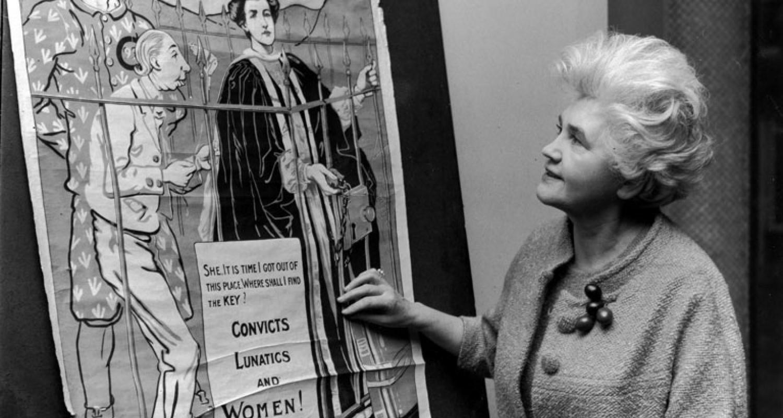 Woman looking at poster