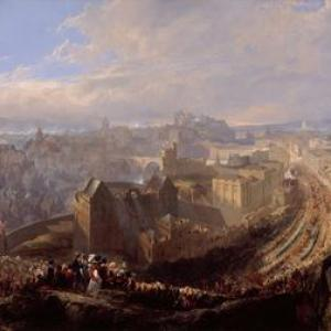 John Wilson Ewbank, The Entry of George IV into Edinburgh from the Calton Hill, 1822, 1827, oil on canvas