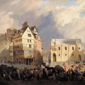 William Gawin Herdman, View of the Lawnmarket, Edinburgh, 19th century, oil on canvas