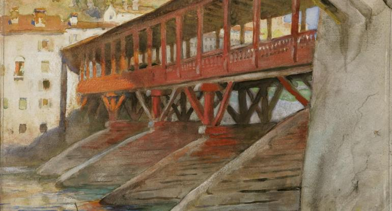 Charles H. Mackie, Bassano Bridge, Venice, 1911. Courtesy of Perth Museum & Art Gallery, Perth & Kinross Council