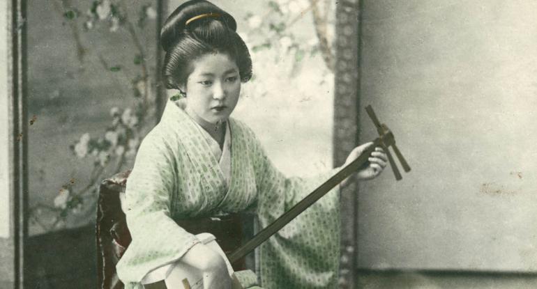 Japanese woman playing a shamisen unknown photographer Yokohama shashin print 1890-1920 National Trust for Scotland Broughton House