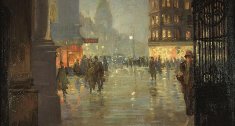 Robert Easton Stuart, Maule's Corner after Rain, Edinburgh, 1925. City Art Centre, Museums & Galleries Edinburgh.