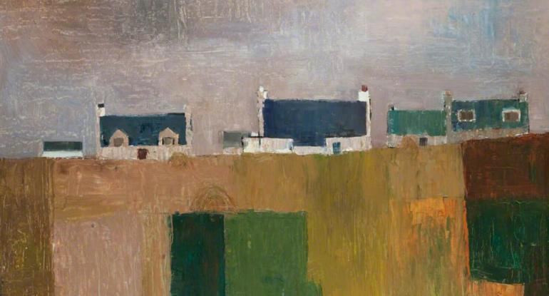 A painting by Donald Smith in earthy colours of a row of cottages