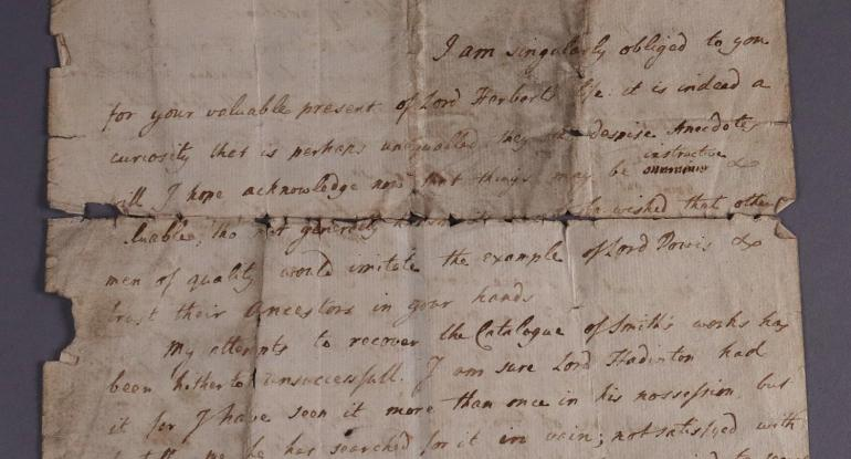 First page of a letter by James Dalrymple to Horace Walpole