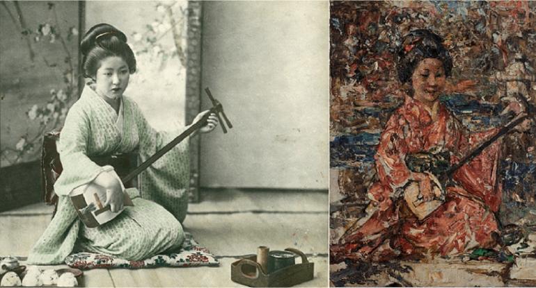 attributed to Tamamura Kōzaburō, before 1921, Yokohama shashin print, National Trust for Scotland A Japanese musician playing a shamisen, E. A. Hornel, c.1921–25, oil on canvas, National Trust for Scotland