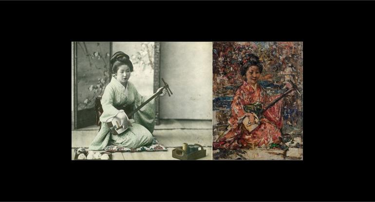 Japanese woman playing a shamisen