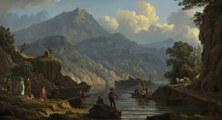 Landscape-with-tourists-at-Loch-Katrine