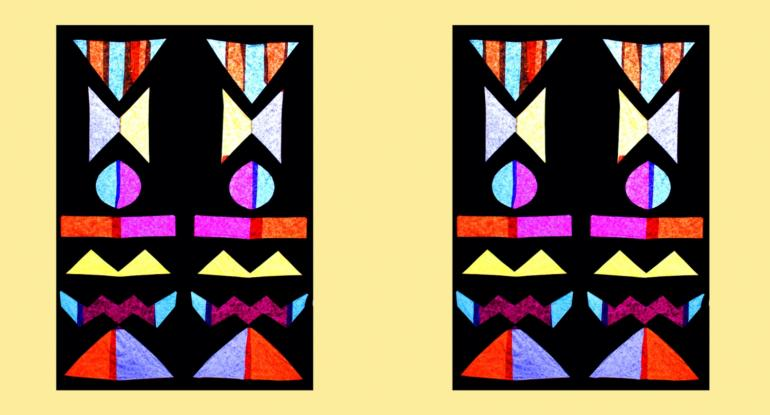 Colour stained glass window effect on a yellow background