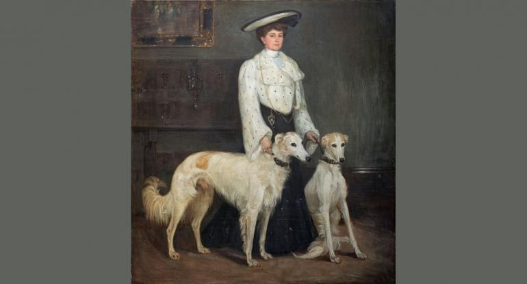Mrs Blair and her Borzois, 1904. Private Collection. (Photo Eion Johnston)