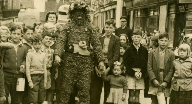 The Burryman in 1956, photo taken by Harry Kelly, a photographer working in Queensferry