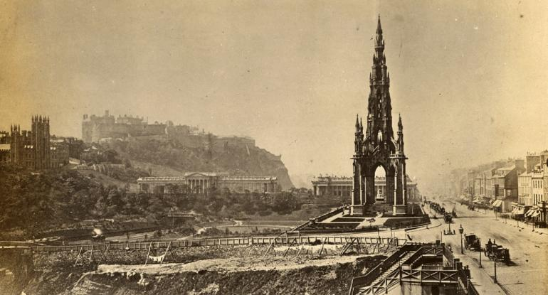 "Photograph ""View of the Scott Monument, Edinburgh, from east and Princes Street with Edinburgh Castle and the Mound in the background."" c. 1860-80 © Historic Environment Scotland"