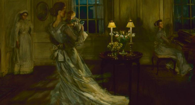 An Edwardian room where a family is dancing to the light of the moon streaming through