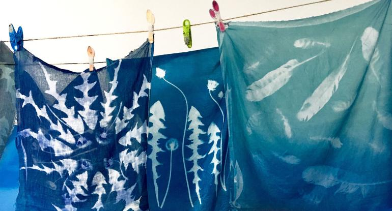 Cyanotypes on Fabrics and Paper